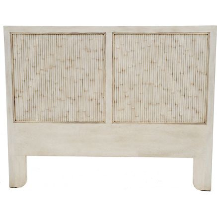 Calais Wood and Bamboo Queen Bed Head in Bone White | Dormitorio y Deco
