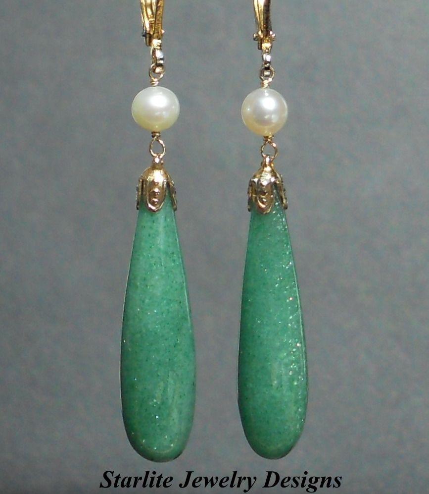 Vintage Aventurine Drop Earrings by Starlite Jewelry Designs
