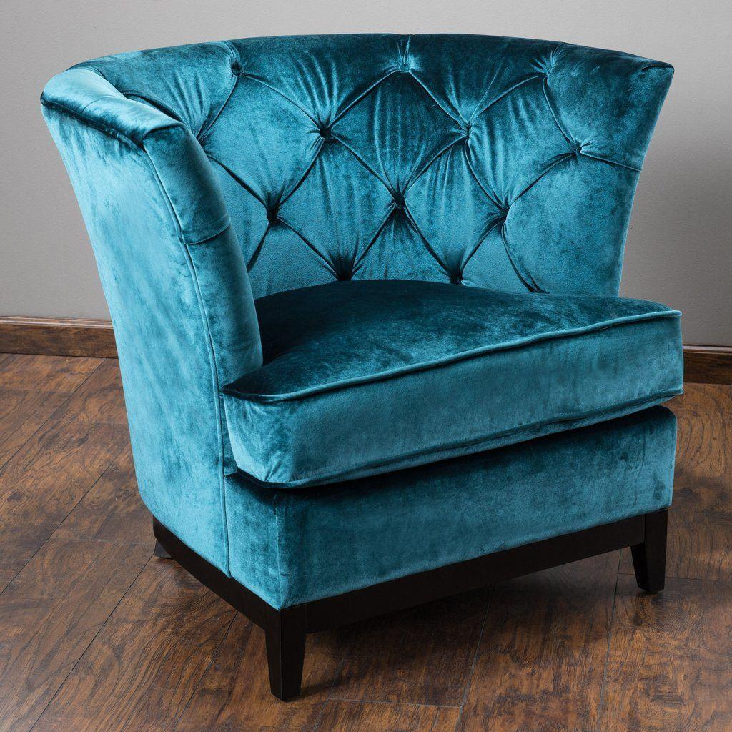 Anabelle Modern Glam Tufted Teal Blue Velvet Upholstered Club