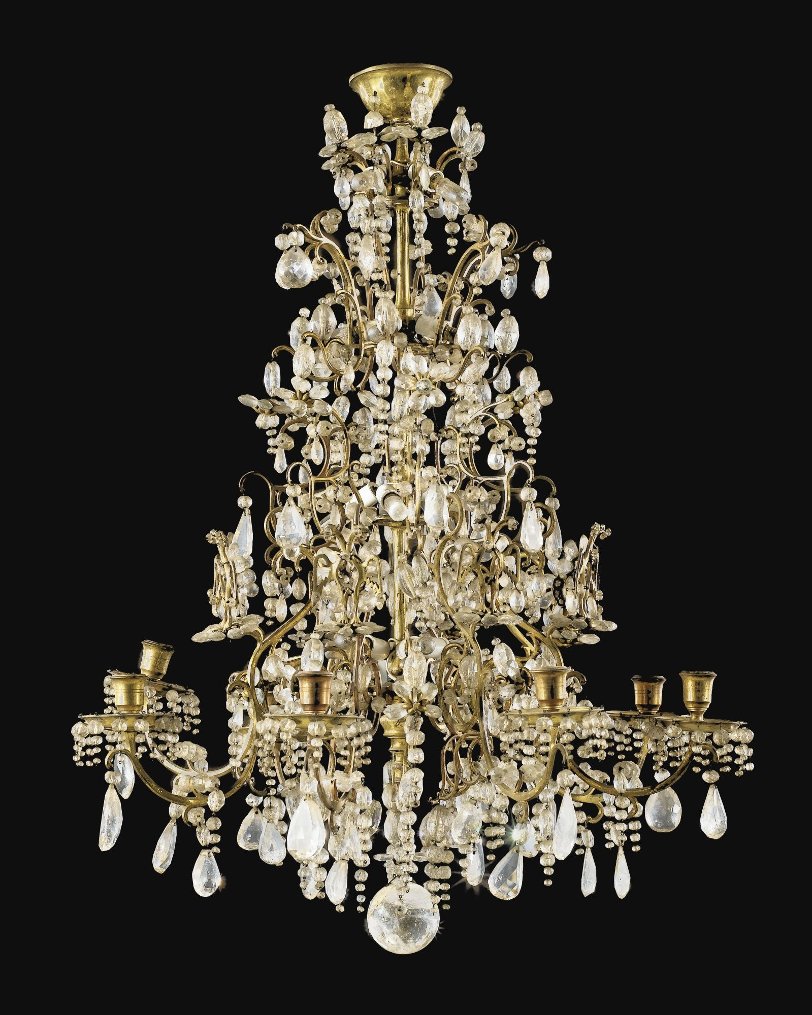 A gilt brass mounted rock crystal chandelier late 19th century a gilt brass mounted rock crystal chandelier late 19th century mozeypictures Image collections