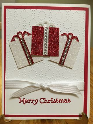 "Versatile Christmas, Red & Dazzling Diamonds Glimmer Paper, Elegant Dots EF, Curvy Corner Trio punch (bow), Whisper White 1/4"" Stitched Satin Ribbon, Rhinestones"