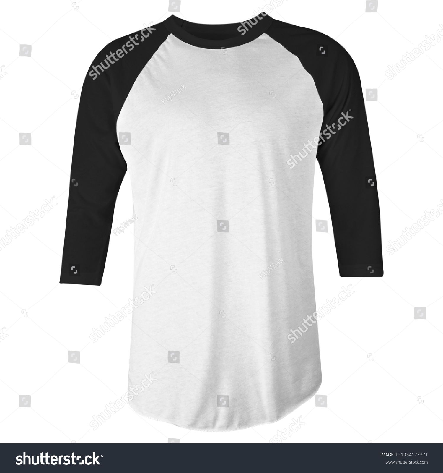 Download Blank T Shirt Black White Raglan 3 4 Sleeves Front View For Mockup Template Isolated White Raglan Black Blank Blank T Shirts Long Sleeve Tshirt Men T Shirt