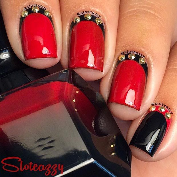 Black and Red Nail Design with Gold Studs for Short Nails - 80 Nail Designs For Short Nails StayGlam Beauty Pinterest