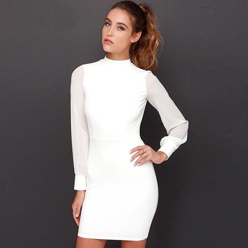 Long sleeve backless short dress