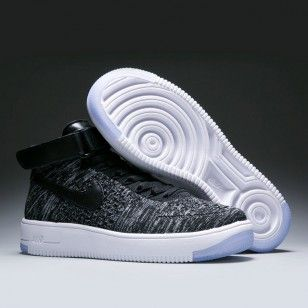 official photos 73bff 1391b Nike Air Force fly line white and black high side sport shoes for women and  men