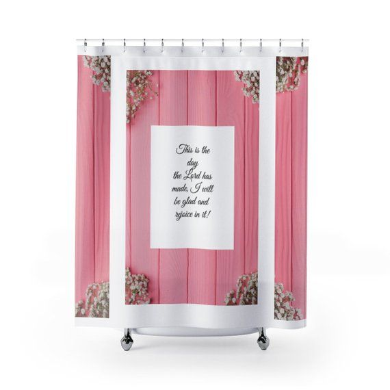Inspirational Scripture Shower Curtain Christian Bible Verse Bath Set Decor