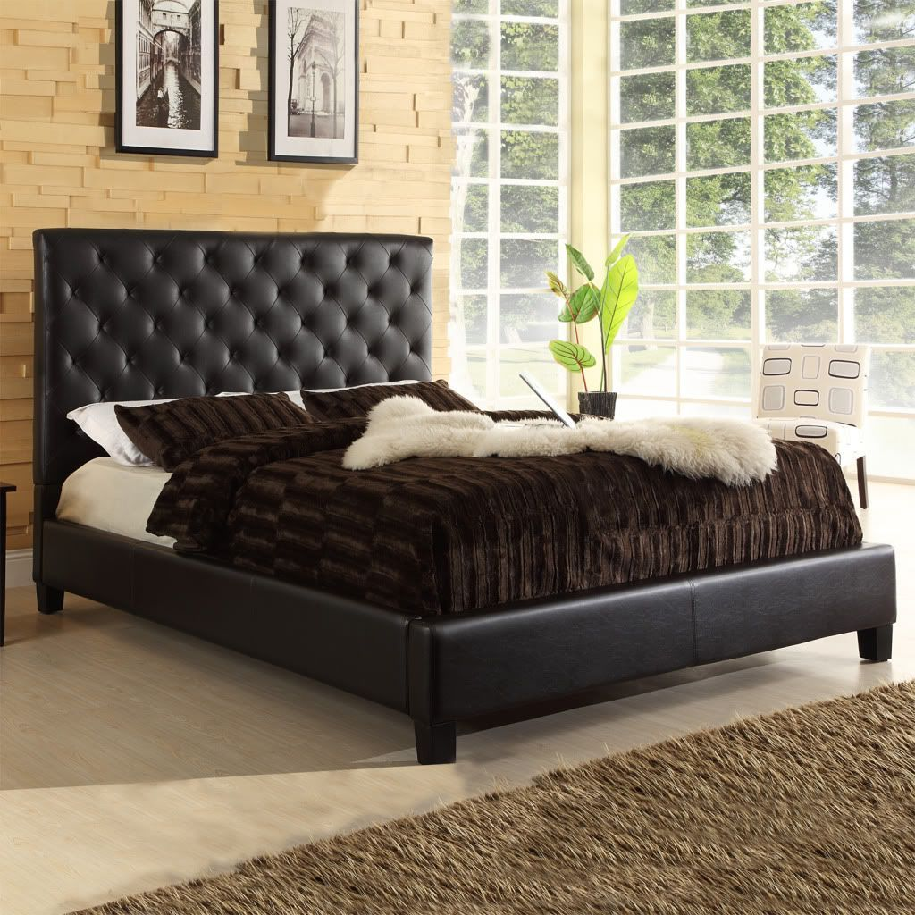 Oxford Creek Grafton Tufted Queen Platform Bed in Chocolate Faux ...