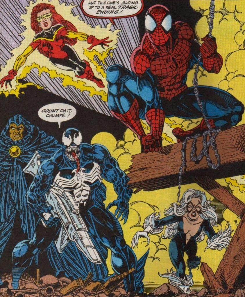 Spider Man With Firestar Cloak Venom And Black Cat In Maximum