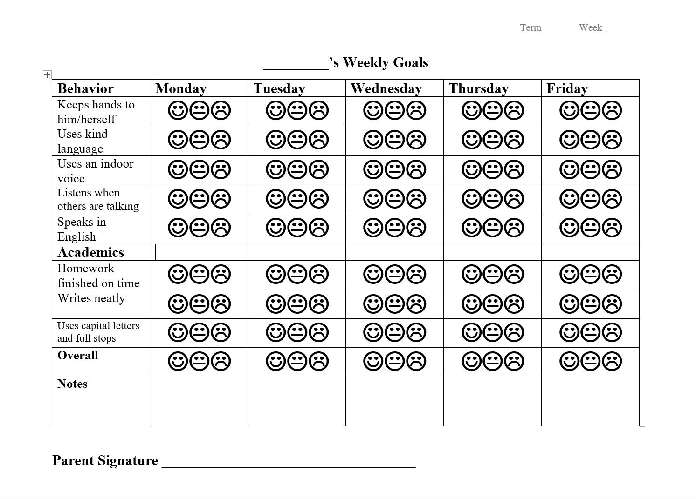 Detailed student behavior and academic checklist