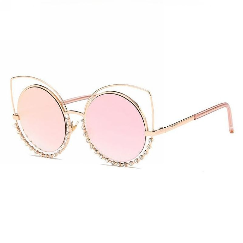 e013fb34799a5 Sexy Cat Eye Round Crystal Wire Metal Rim Sunglasses Gold Frame Pink Lens
