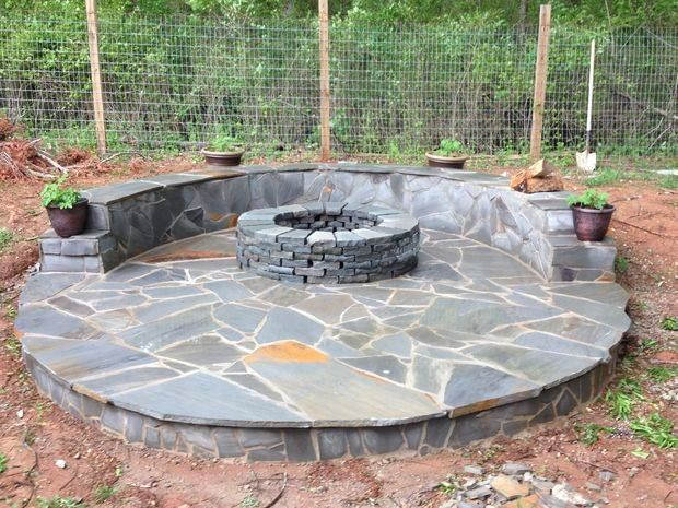 Photo of DIY Flagstone Veneer Fire Pit