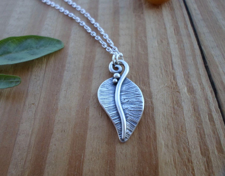 Leaf sterling silver necklace leaf silver pendant woodland jewelry leaf sterling silver necklace leaf silver pendant woodland jewelry silversmith pendant silver aloadofball Images