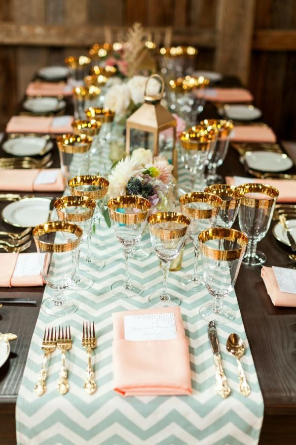 We Are Loving This Gorgeous Wedding Mint Peach And Gold Tablescape The Chevron Runner Rimmed Gles Just An Outstanding Detail