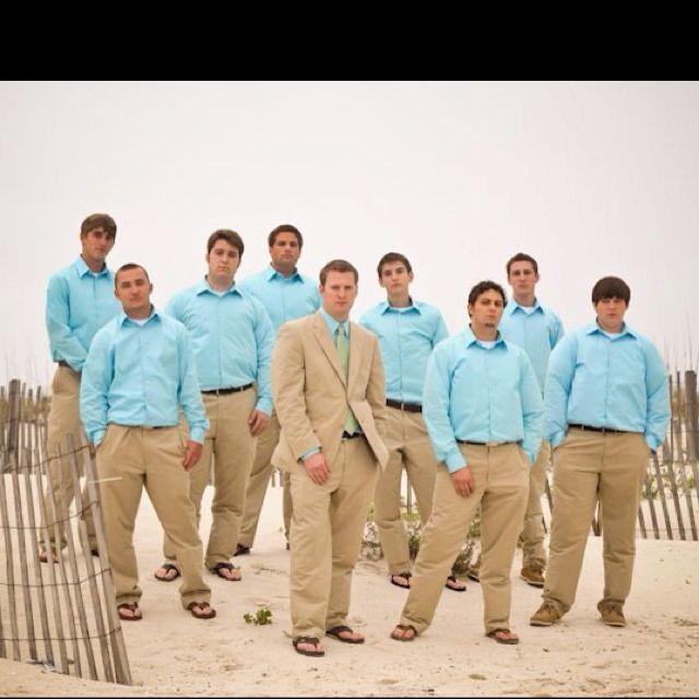 Beach Wedding Outfit Ideas: Beach Wedding Groomsmen Attire! It Was A Little Windy That