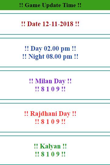 12 11 2018 Kalyan matka | Kalyan open today | strong jodi trick