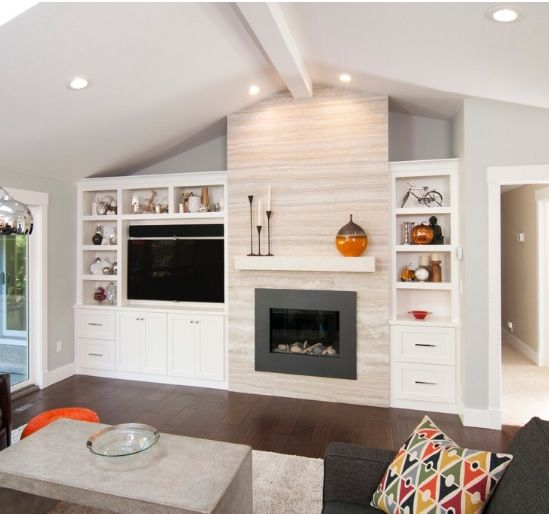 Ideas for contemporary fireplace with built-ins and TV nook house