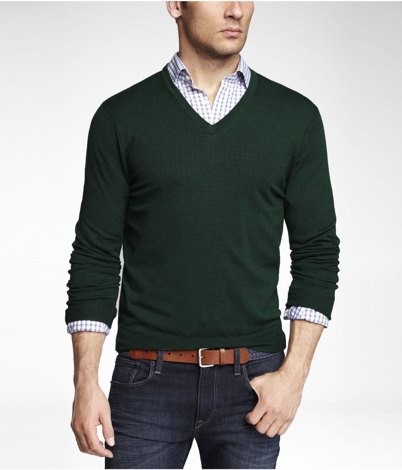 Green merino sweater, light blue gingham shirt, leather