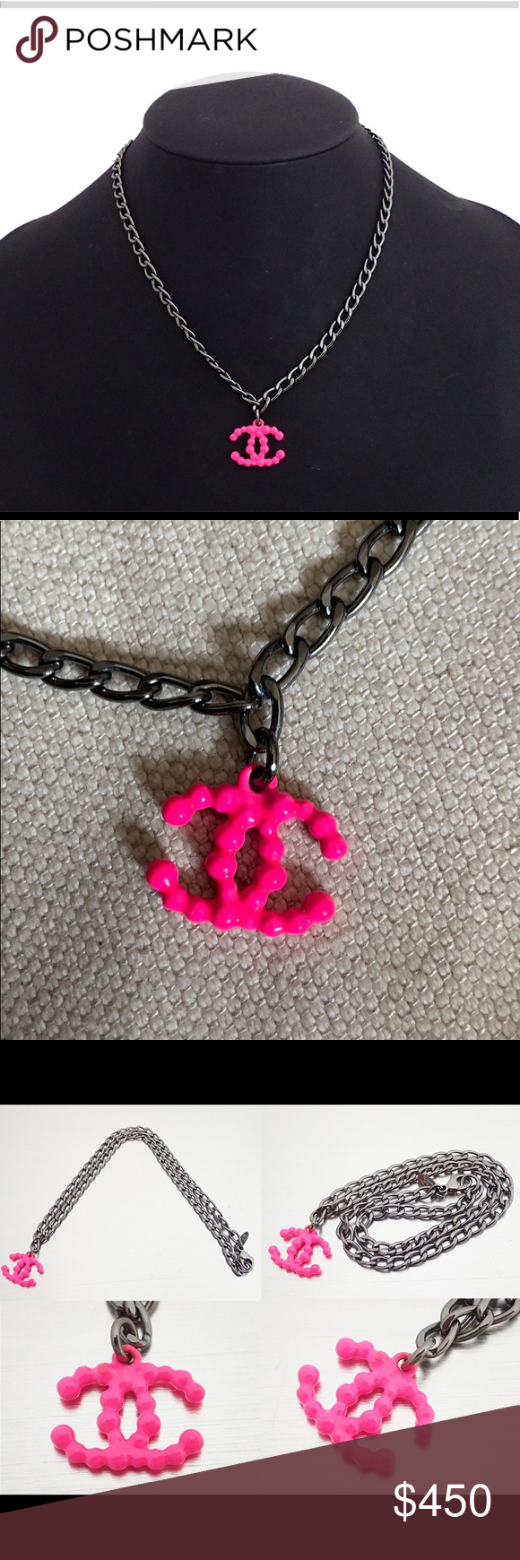 Chanel Pink Logo Bubble Necklace Metal chain. 16 inches