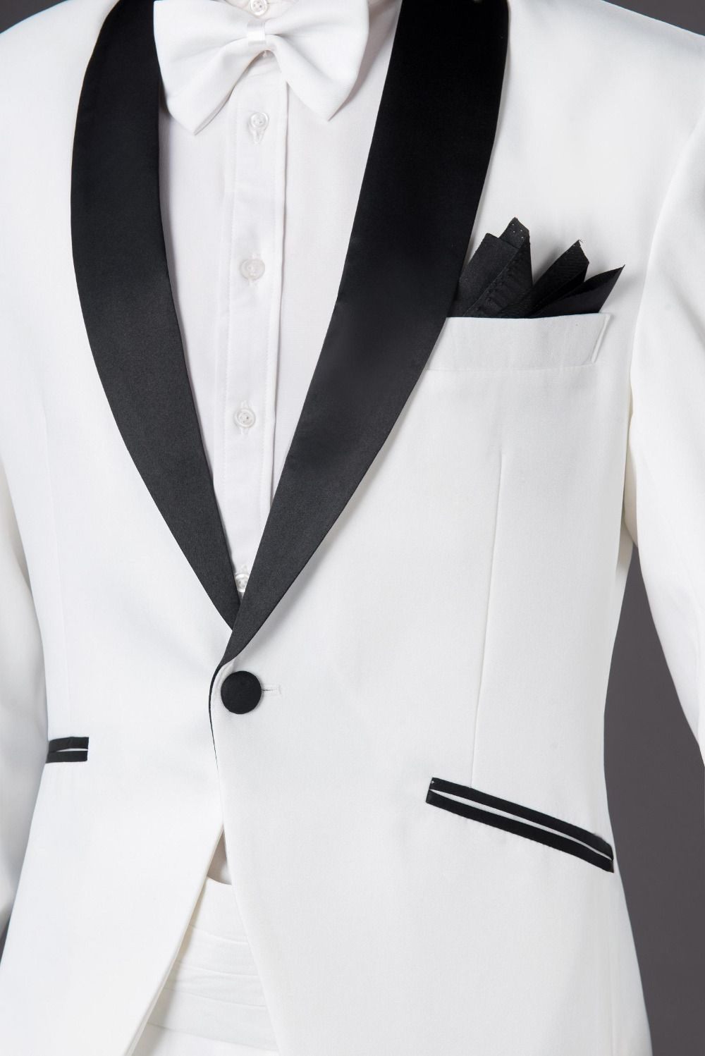 a4886df7b Brand White Tuxedo Jacket Men Suit Tuxedo 2016 New Arrival Mens Slim Black  Lapel Suits With Pants Groom Wedding Suits For Men-in Suits from Men's  Clothing ...