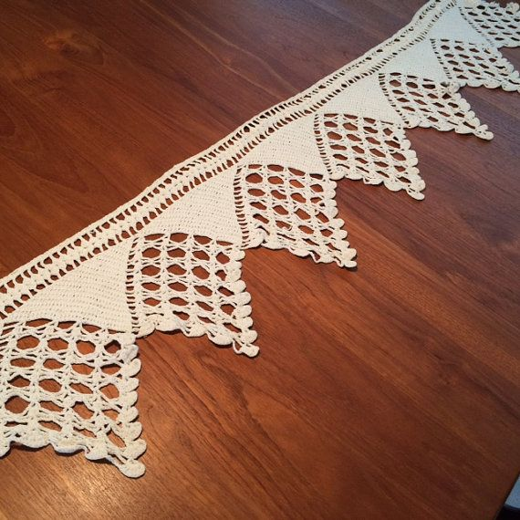 here is a beautiful long length of handcrafted crocheted edging constructed in heavy cotton this