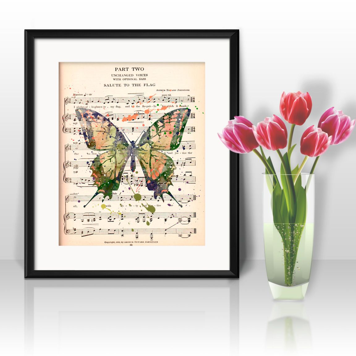 Butterfly Dictionary Wall Art painting Home Decor mixed media art print vintage