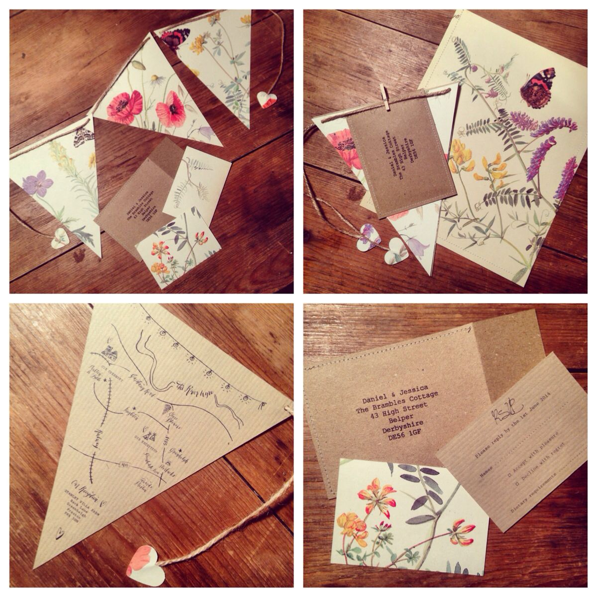 Jessica Walker bunting wedding invitation | Decor | Pinterest