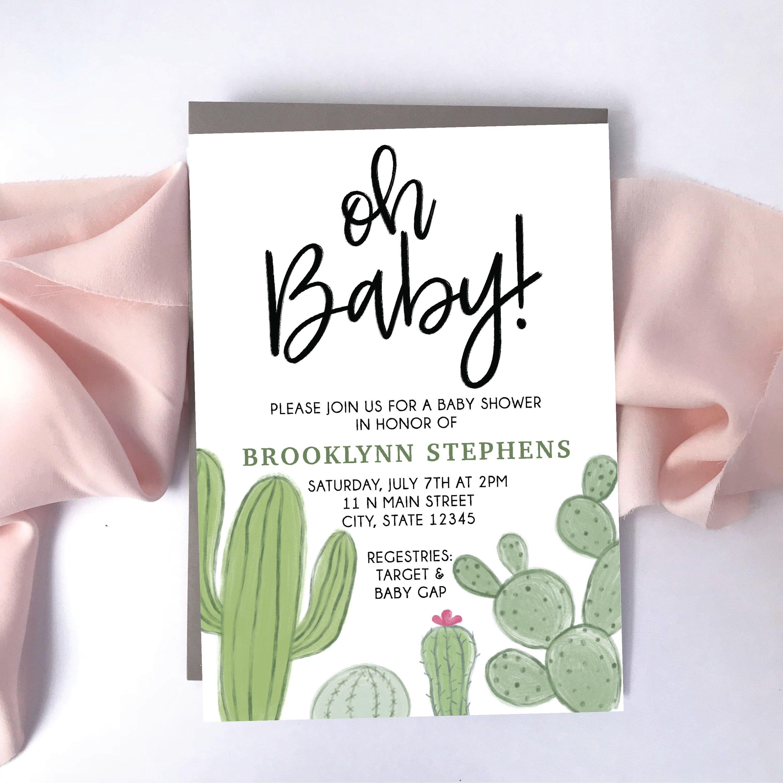photo regarding Etsy Baby Shower Invitations Printable identify Cactus Child Shower Invitation - Printable Invites - Female