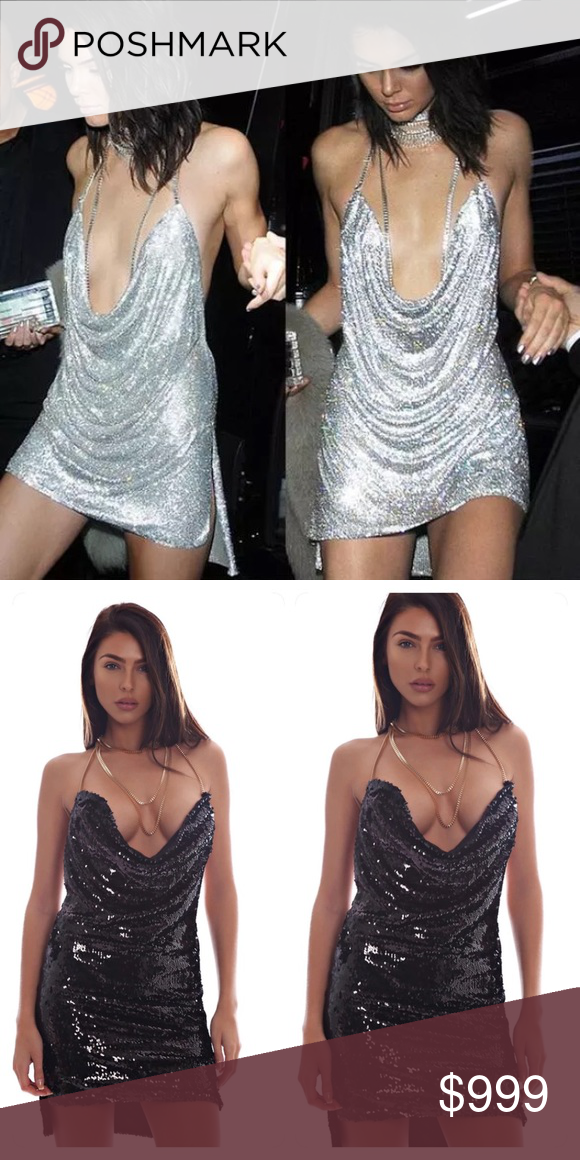 COMING SOON Kendall Jenner 21st Birthday Party Dress Sequined Women Hollow Out Deep V Neck Backless Metal Neck Halter Sleeveless Dress! This dress is super hot! Dresses Mini