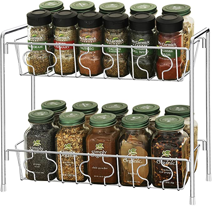 Amazon Com Simplehouseware 2 Tier Kitchen Counter Organizer Spice Rack Chrome Kitchen D Spice Organization Kitchen Counter Organization Cabinet Spice Rack