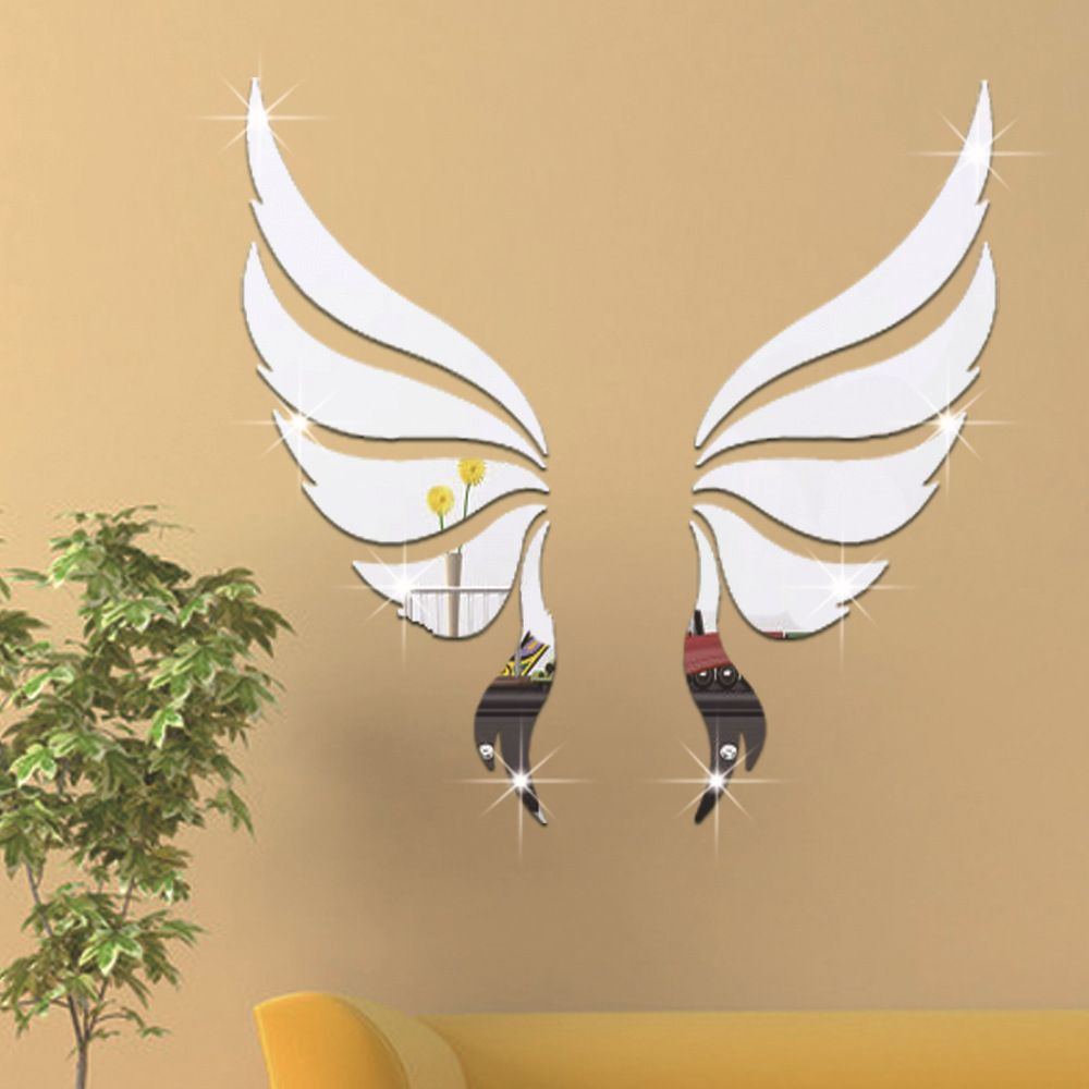 3D Wallpaper Angel Wings Acrylic Crystal Wall Stickers Living Room ...
