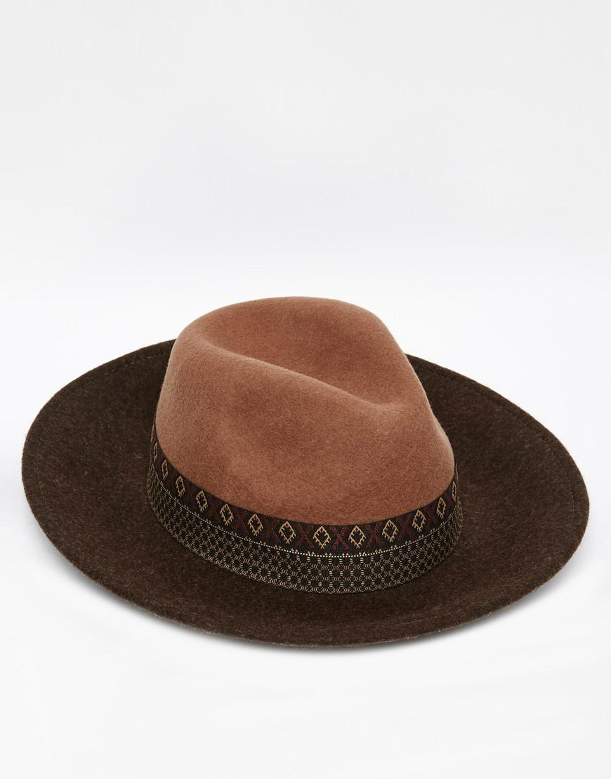 53ad23f1e1 Image 1 of ASOS Wide Brim Fedora Hat In Camel Felt With Aztec Print Band
