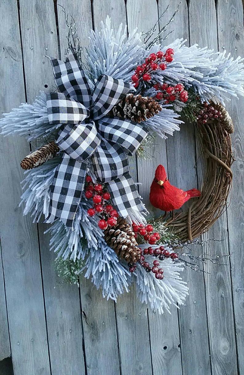 Cardinal Christmas Wreath Farmhouse Winter Cardinal Flock Etsy Christmas Wreaths Grapevine Christmas Christmas Wreaths To Make