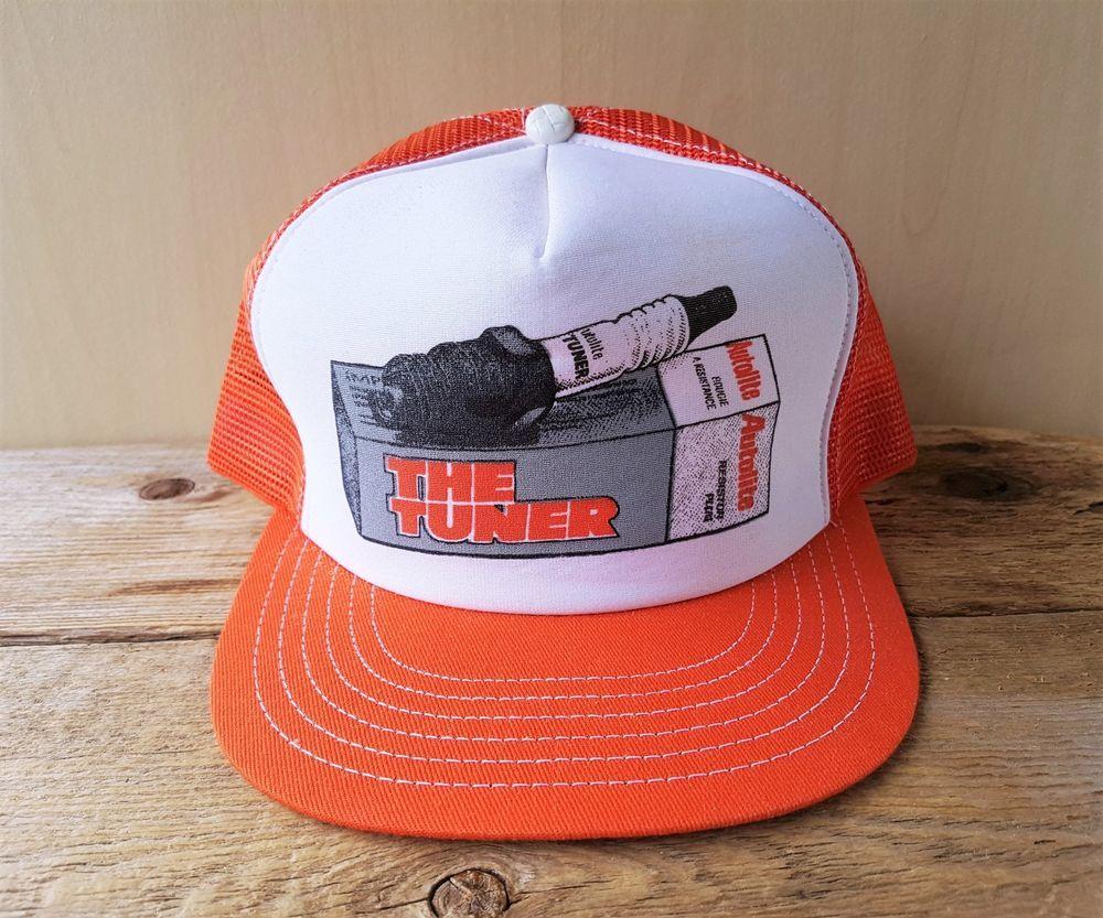 2ed27806 Vtg 80s Autolite TUNER Spark Plugs Orange Mesh Trucker Hat Snapback Cap  Canada #BaseballCap