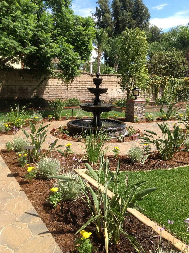 Beautiful Home Gardens With Fountains Soil Plants Flowers Fountain Traditional Landscape Trees Fence Of To Be Inspired
