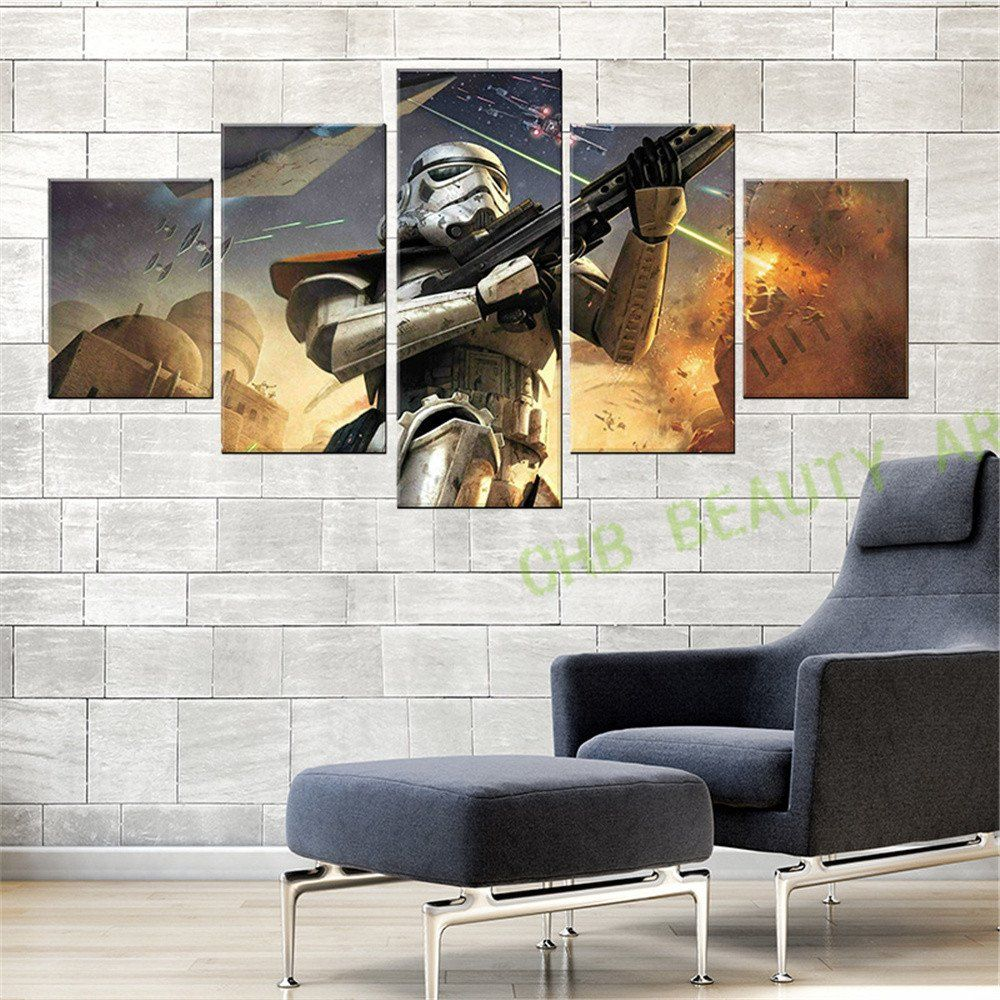 Paintings For Living Room Wall 5 Panel Canvas Tiger In Jungle Wall Art Decoration Painting Print