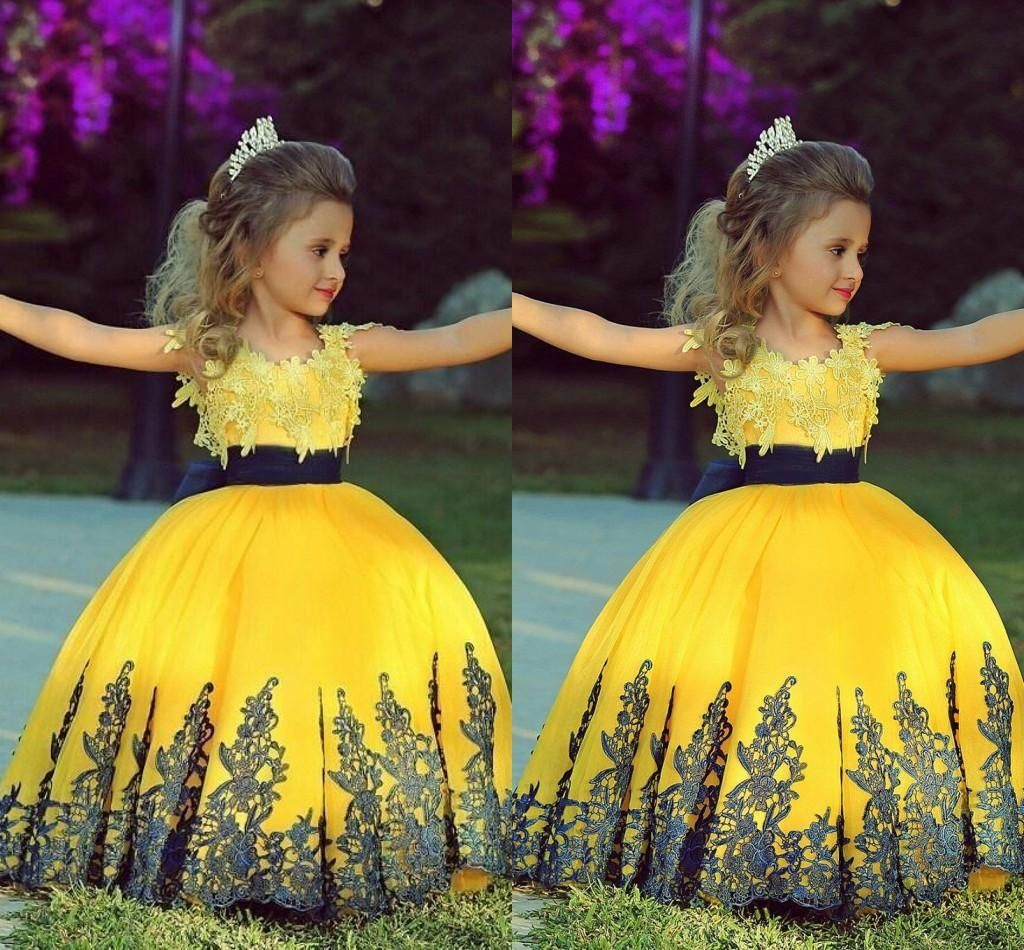 2015 Fashionable Yellow Ball Gown Girl Toddler Pageant Dresses With Black Sash Lace Applique Custom Wedding Flower Girl Prom Party Gowns ZC, $106.81 | DHgate.com