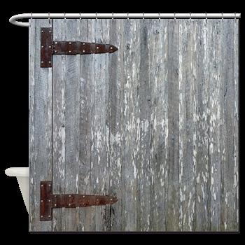 Rustic Barn Door With Metal Hinges Shower Curtain Rustic Barn