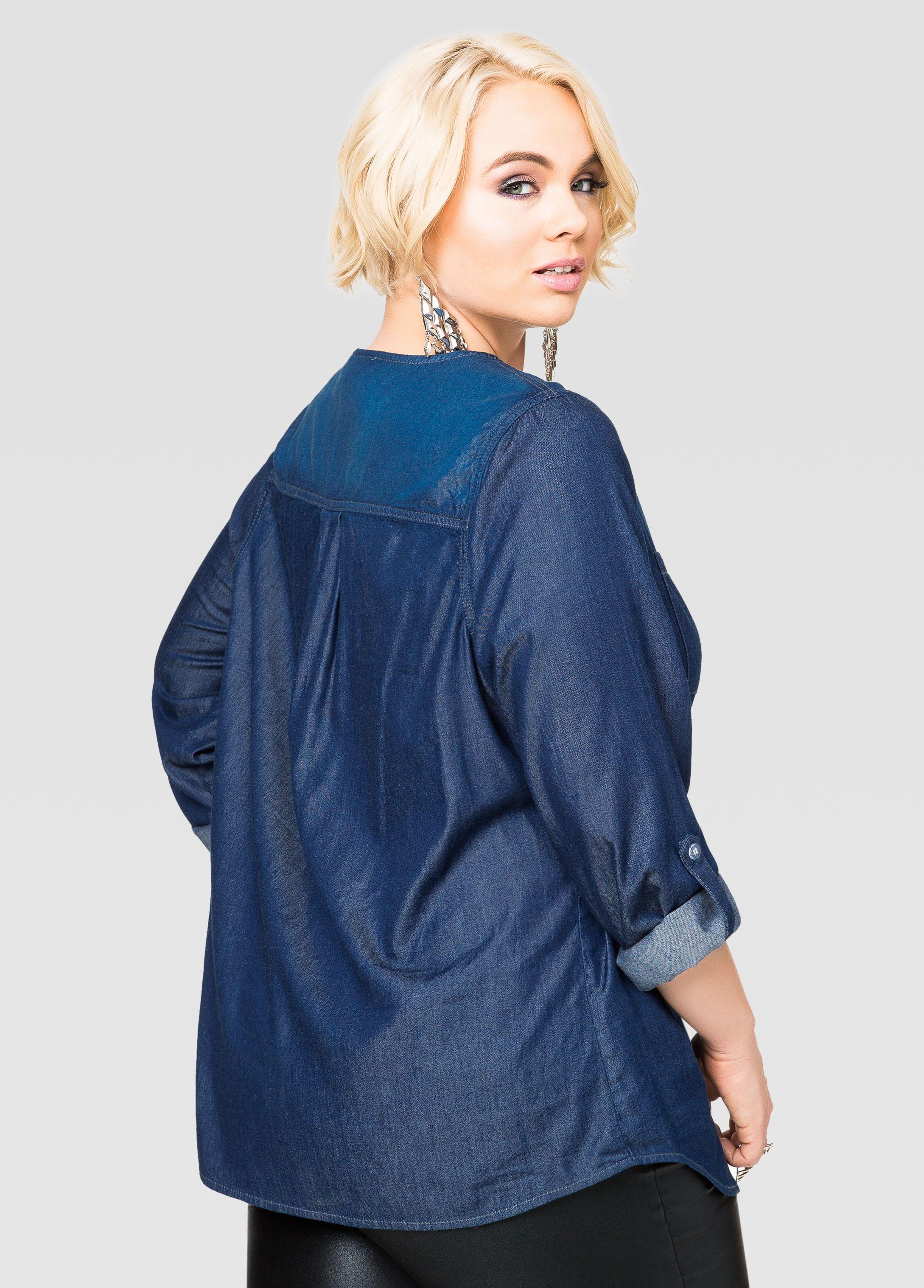 5dbd1fe0a7b023 Embellished Denim Shirt-Plus Size Shirts-Ashley Stewart
