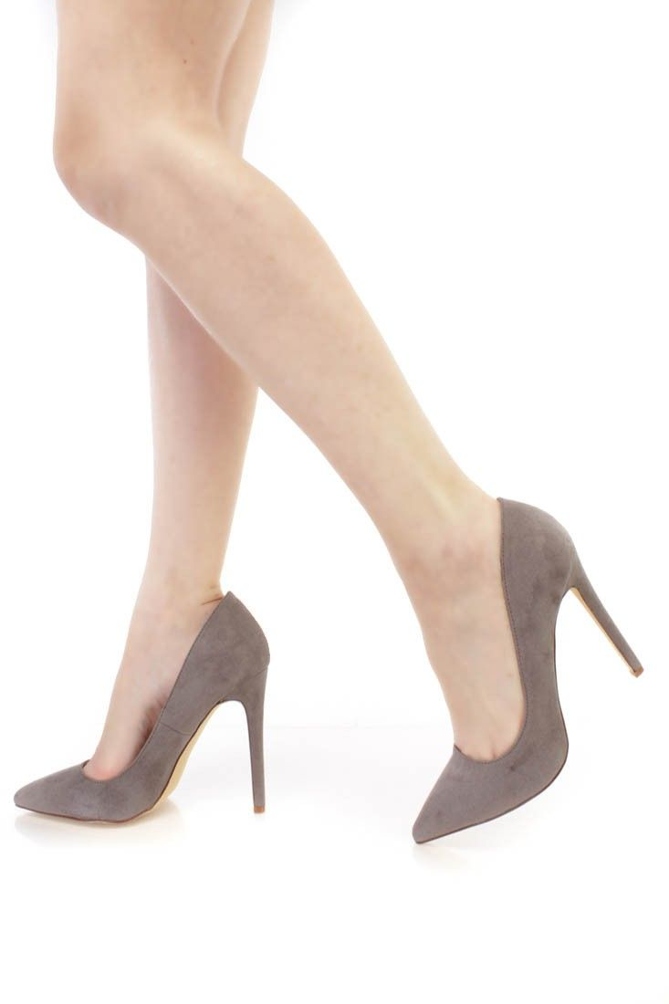 Grey Pointed Toe Single Sole Pump High Heels Faux Suede | High ...