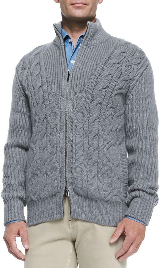 5396012e553f Loro Piana Baby Cashmere Cable-Knit Zip Cardigan