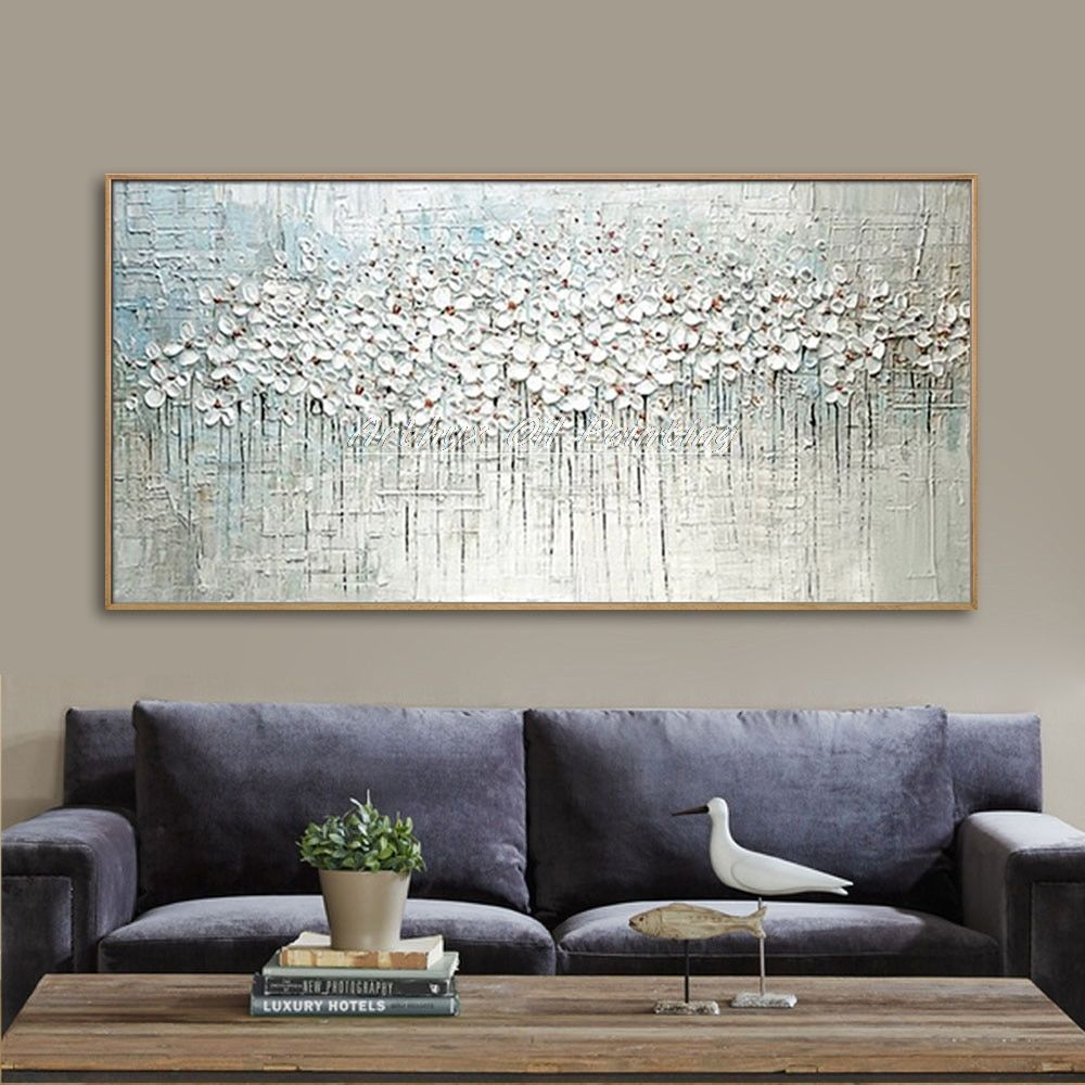Hand Painted Thick Palette Knife Flower Oil Painting On Canvas Abstract Wall Painting Living Room Home Wall Decor Abstract Wall Painting Abstract Wall Painting Living Rooms Oil Painting On Canvas