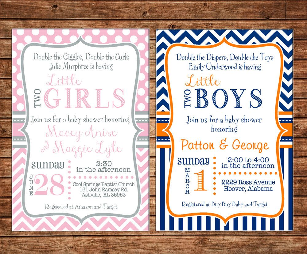 Twin Two Boy Girl Polka Dot Chevron Baby Shower Tea Birthday Party ...