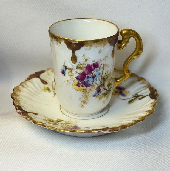 Lovely Vintage Art Nouveau LS&S Limoges France French Porcelain Gold Trim Pansy Flower Demitasse Cup and Saucer Set