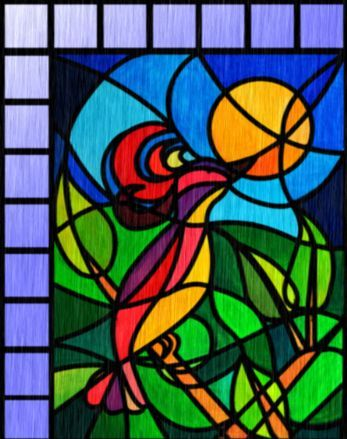 Modern Stained Glass Panel Seamless Repeating Background Fill