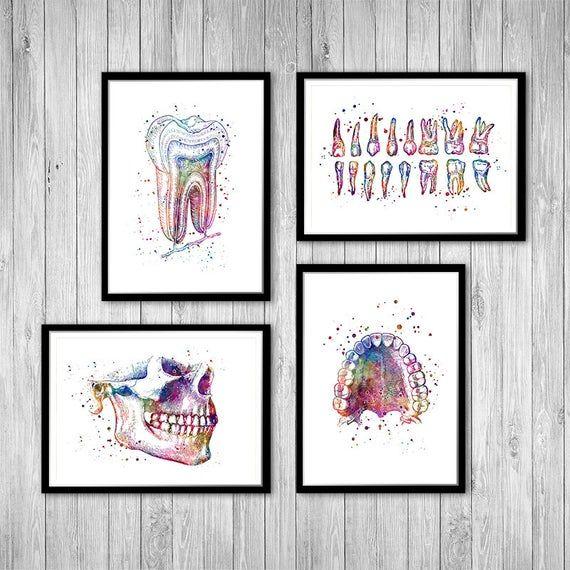 Dental Art Dental Office Decor Dentist Gift Set Of 4 Etsy Dental Office Decor Dental Wall Art Dental Art