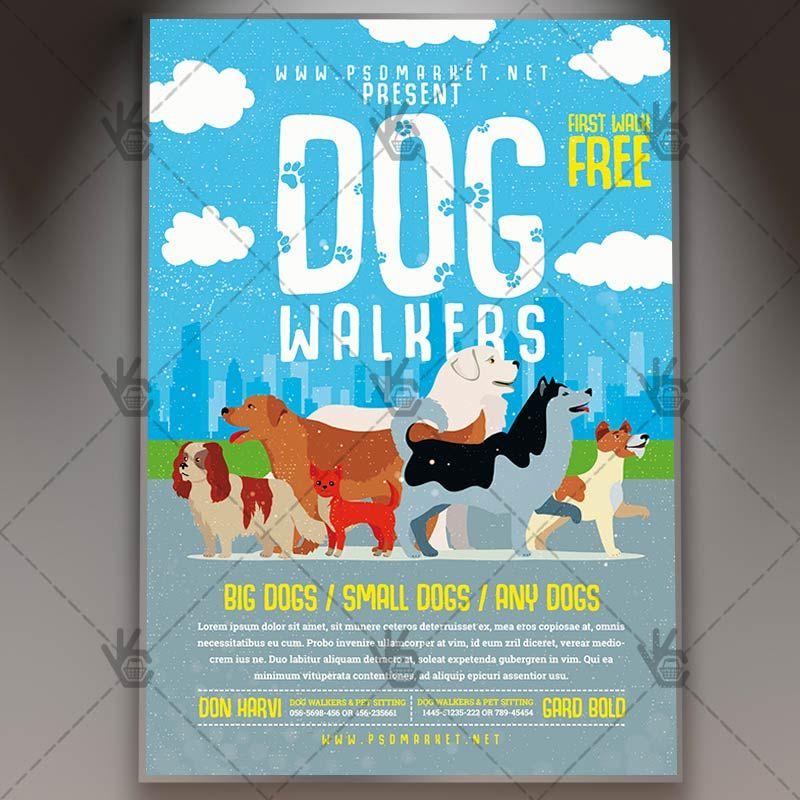 Dog Walking Services - Premium Flyer PSD Template | PSDmarket ...