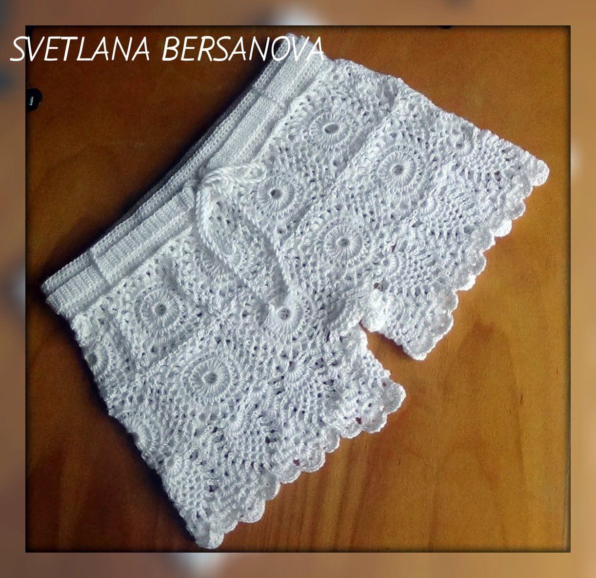 Шорты крючком из мотивов с ананасами Часть 3 | Crochet Complementos ...