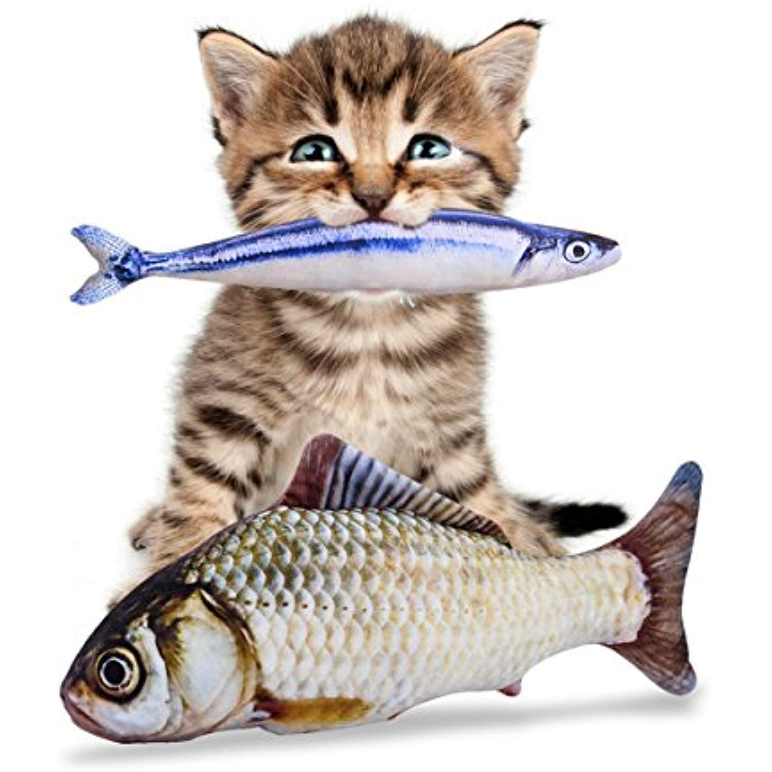 Pet Leso Catnip Fish Toy Refillable Catnip Toys 11 8a 30cm Length 1 A Grass Carp And 1 A Saury 2 Pack You Animal Pillows Cat Toys Catnip Cat Toy