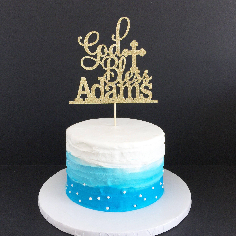 God Bless Cake Topper Cross Cake Topper Cross First Communion Cake Topper Baptism Cake Topper