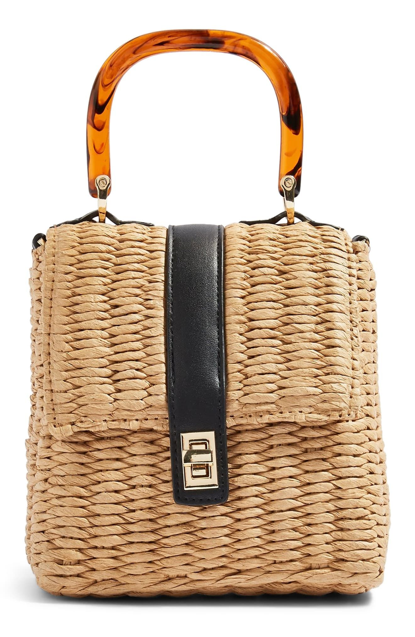 7ce4991f7375 Topshop Skyla Top Handle Straw Grab Bag - Beige in 2019   Products ...